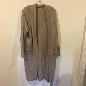 Zara brown knit long cardigan